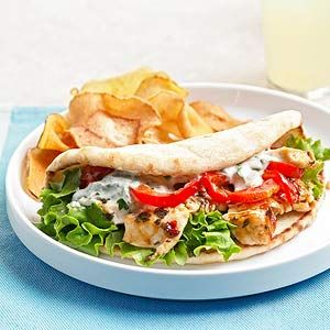 Skillet Chicken Salad Pitas The sweet chili sauce in these delicious pita sandwiches gives them a decidedly Asian flavor. Serve them at home for lunch, or place in a cooler for a delightful picnic.