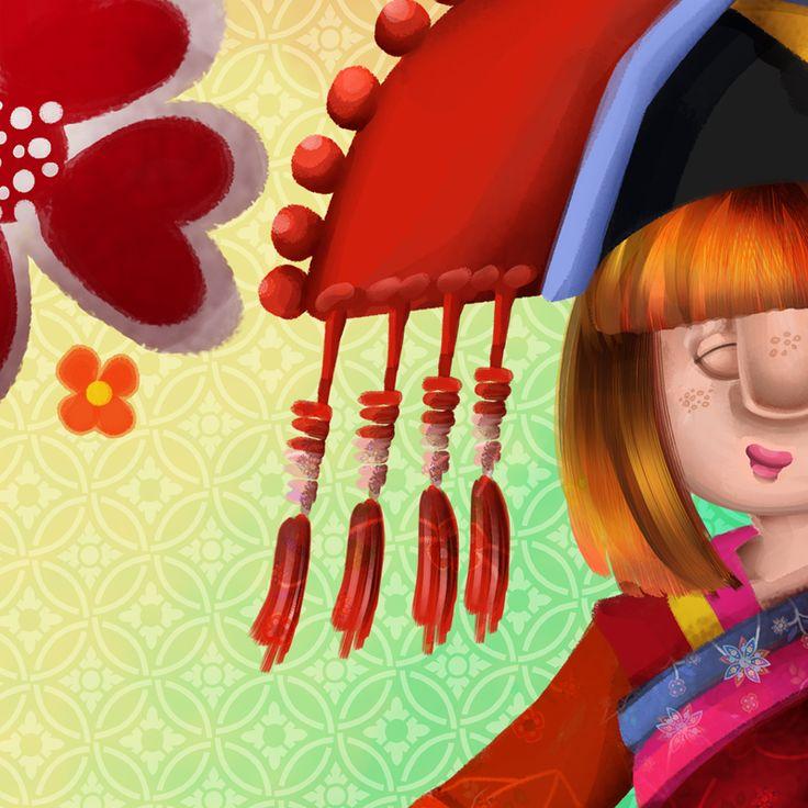"Illustration for ""The Magic Hats of Babi"" children's book (2016)   www.annaanjos.com"