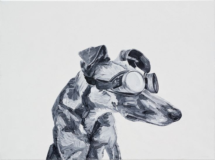 Dog with Glasses II. (2014) - oil, canvas 60x80cm ildiko olah - oldi paintings The painting was inspired by the photo of Elke Vogelsang.