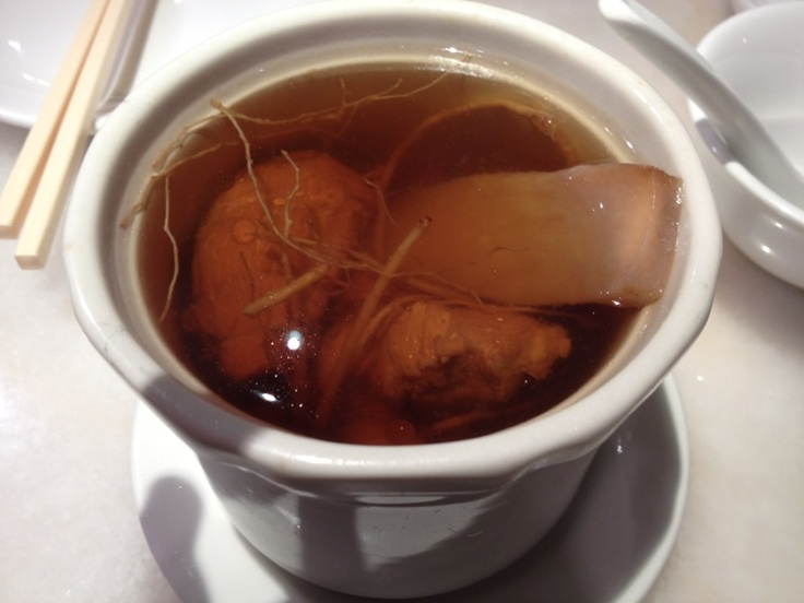 Double boiled chicken and ginseng soup!