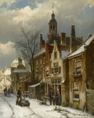 Willem Koekkoek (1839-1895) A street in winter, oil on canvas. Collection Simonis & Buunk, The Netherlands.