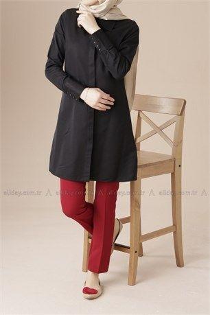 Kol Manşet Düğmeli Gömlek - Allday - 1040 - Siyah