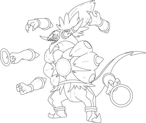 Hoopa Unbound Coloring page LineArt Pokemon Detailed