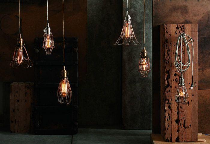 lampara de taller- jaula-vintage de diseño industrial-