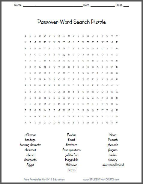 passover word search puzzle for kids - Kids Free Holiday