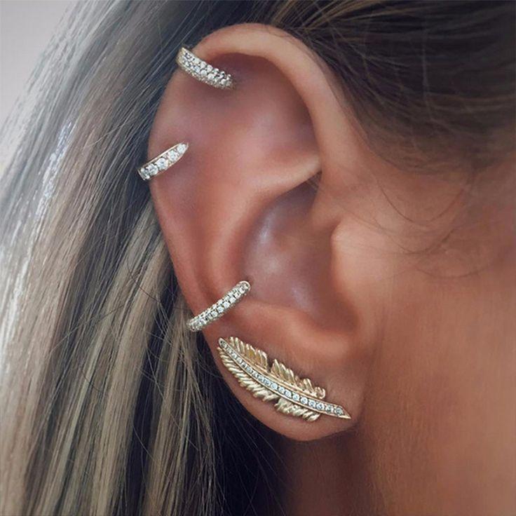 4 pcs/set women bohemian gem crystal leaf geometric round gold ear clip shining ear studs combination jewelry accessories