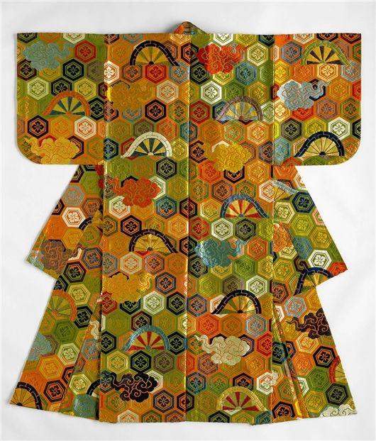 Atsuita Karaori Kimono,18th Century    Medium: Silk brocade japanese kimono on rung-dyed silk ground