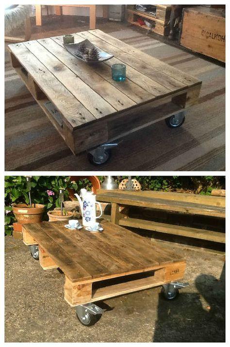 pallet coffee table on wheels smallbackyard pinterest pallet rh pinterest com