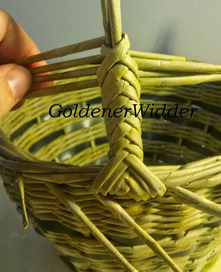 Плетение из газетных трубочек: Ручка для корзин, один из вариантов плетения. Ручка стабильная. Косичка. Колосок.
