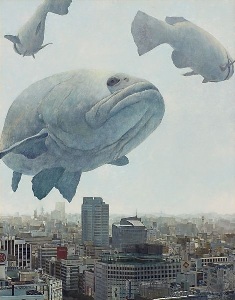 Gray art flying fishes Japanese contemporary art Forgetting the way home  帰り道を忘れて