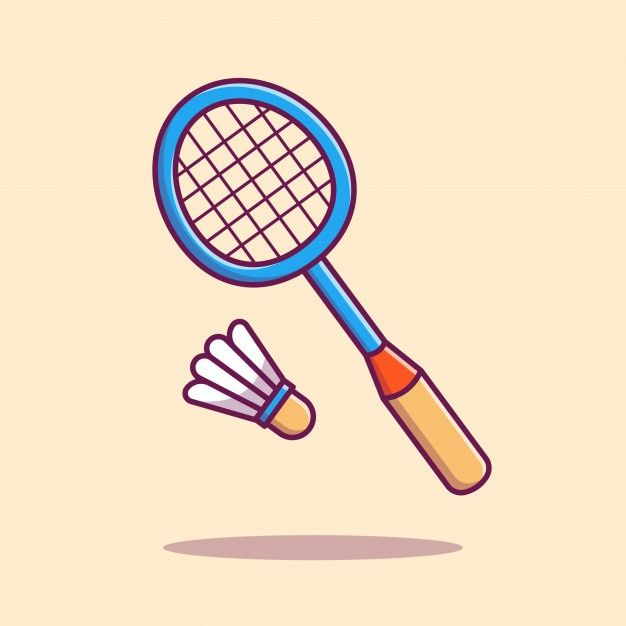 Badminton Racket With Shuttlecock Icon Illustration Sport Icon Concept Isolated Flat Cartoon Style Badminton Racket Shuttlecock Badminton