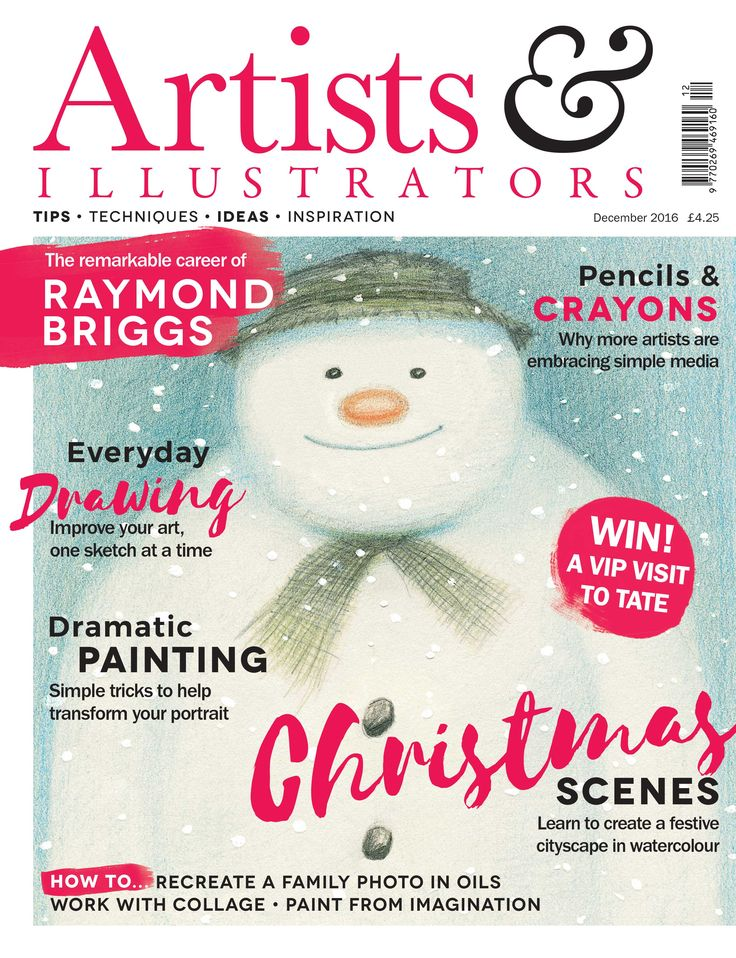 In our Christmas edition, we take a look back at the phenomenal career of British illustrator Raymond Briggs, creator of The Snowman, and get to the heart of his expressive drawing style. Also in this issue: recreate a treasured family photo in oils; paint a festive cityscape in watercolour; tricks for creating a dramatic portrait. Buy > http://www.artistsandillustrators.co.uk/news/acrylic/1676/dont-miss-the-december-issue-of-artists-illustrators