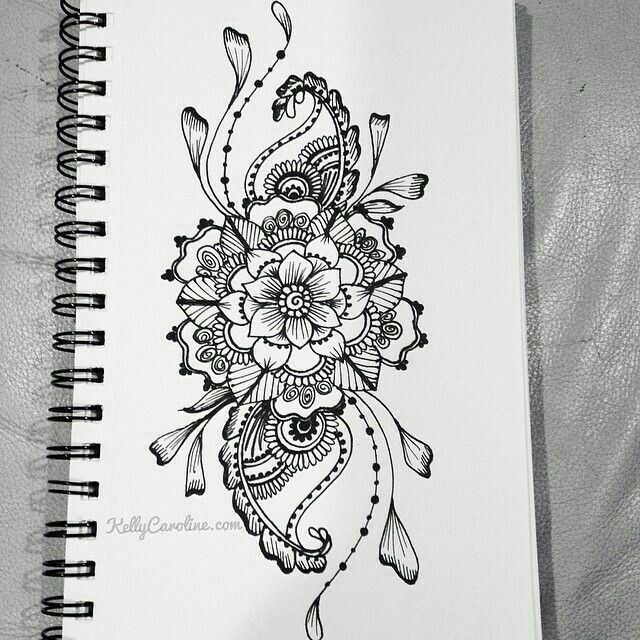 henna flower designs. sketched henna design with flowers and paisleys hip tattoo possibly flower designs