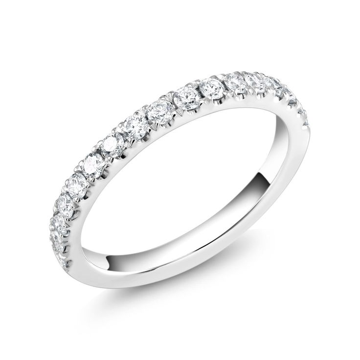 a white gold half circle wedding ring with pave set diamond 045 carats - Circle Wedding Rings