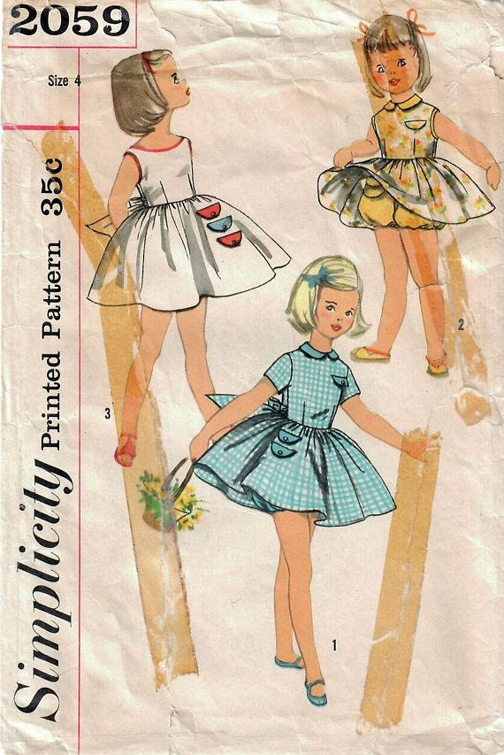 Simplicity 2059: Use this late 1950s vintage sewing pattern for girls to sew a cute full skirt sundress, play dress, party dress. Dress details: - dart-fitted bodice - back button closing - full gathered skirt - jewel neckline with peter pan collar or collarless Sabrina neckline -