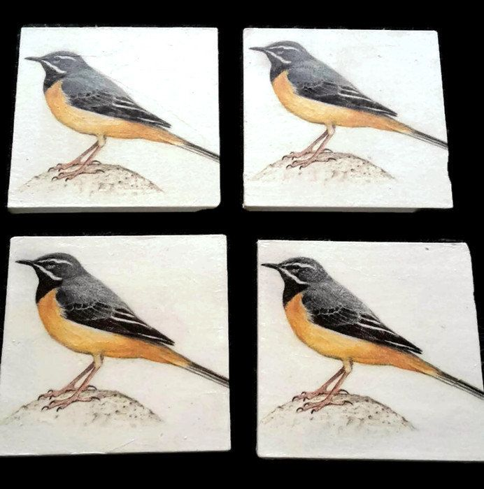 grey wagtail coasters - bird coasters - bird watchers gifts - grey wagtail decor - bird decor - secret Santa gifts - best selling items by SimplyImperfected on Etsy