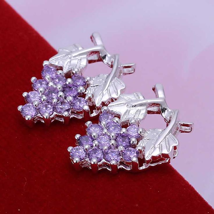 Factory price top quaility 925sterling silver jewelry earring fine purple grape ball stud jewelry earring free shipping SMTE040
