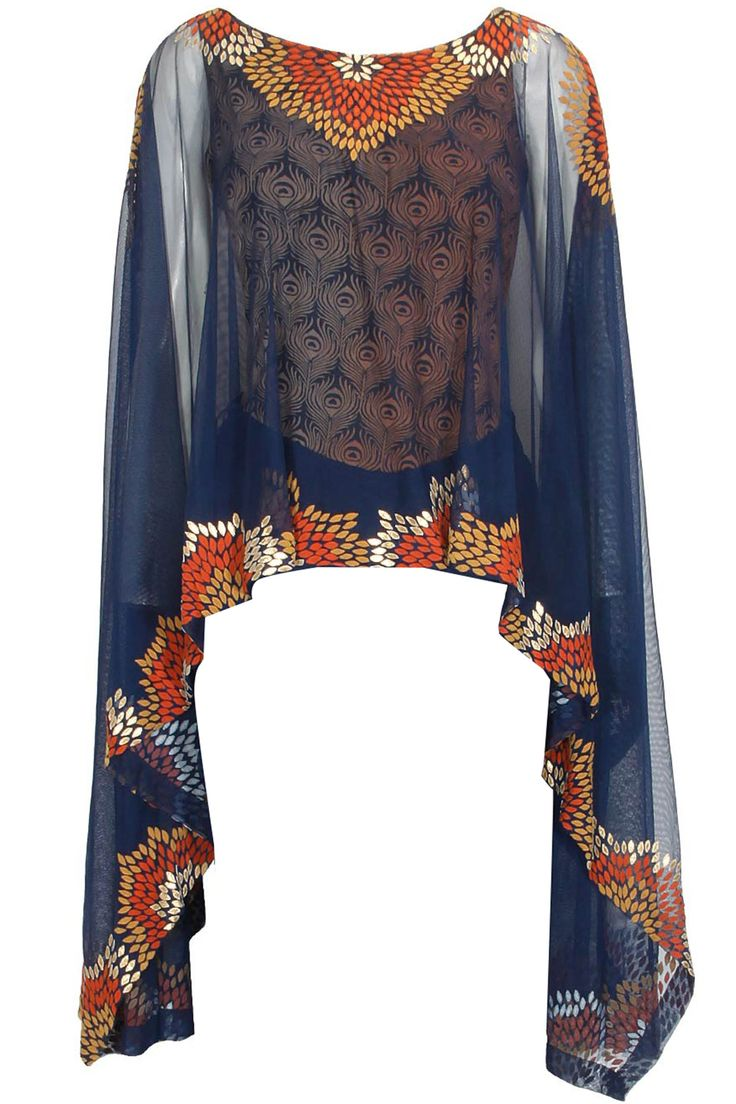 Navy blue vintage flower pop tulle cape available only at Pernia's Pop Up…