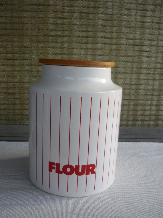 Vintage Hornsea 'Stripes' Flour Canister, Retro 1980's Collectable Kitchen  Storage Jar