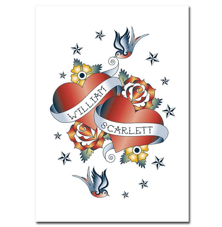 Personalised Two Hearts Tattoo Print