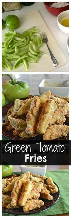 Baked Green tomato fries - replace bread crumbs and flour with stone ground blue or green corn meal