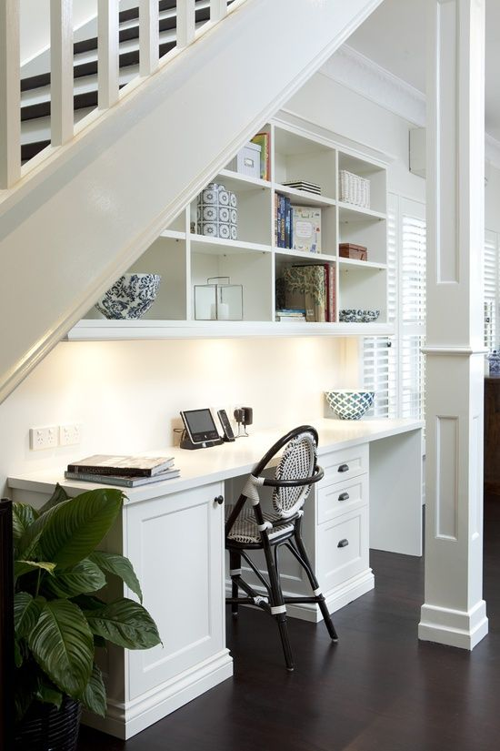 Basement Office Tucked Under the Stairs, Incased Column Millwork; Porchlight | http://desklayoutideas.blogspot.com