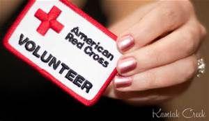 American Red Cross Volunteers A red cross volunteer.