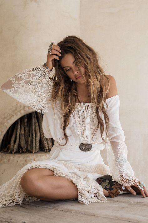 8d761d72880 Robe dentelle boheme robe hippie chic dentelle robe ete longue femme hippie  chic style