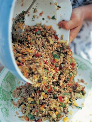 Farro is a grain similar to pearl barley, but it's dried in such a way that instead of being fluffy and spongy it becomes chewy and nutty. You may have difficulty getting hold of it, but if you can find it you'll be using it all the time – it has an unusual flavour half-way between rice and couscous (this recipe will also work well with both of these). In Italy it was a major food for the ancient Romans, who used it to make bread, porridge and soup before they got hold of wheat. Nowadays…