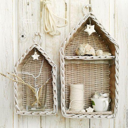 Мебель ручной работы. Ярмарка Мастеров - ручная работа. Купить Полка-домик плетеная (2 шт.). Handmade. для мелочей