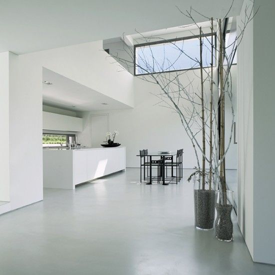 Resin flooring is really practical for kitchen floors as its hard wearing, noise absorbing and easy to clean. Available in practically every colour you could want its creates a very modern seamless effect, great for open plan spaces. http://www.housetohome.co.uk/room-idea/picture/modern-kitchen-design-essentials-10-of-the-best