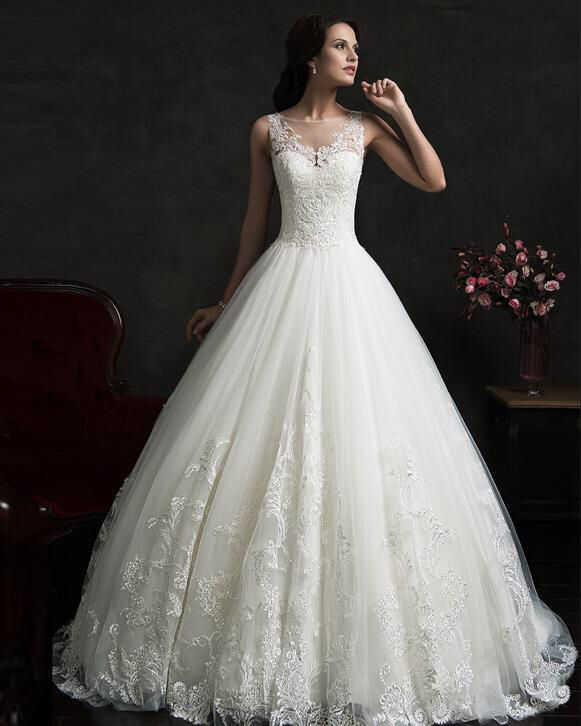 Bruidsjurk prinsessen stijl met prachtige rug van kant