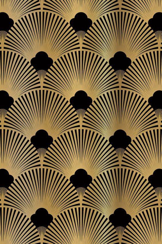 Golden 20ies Art Deco Muster für Tapeten und Nischenrückwand exklusiv bei Küc