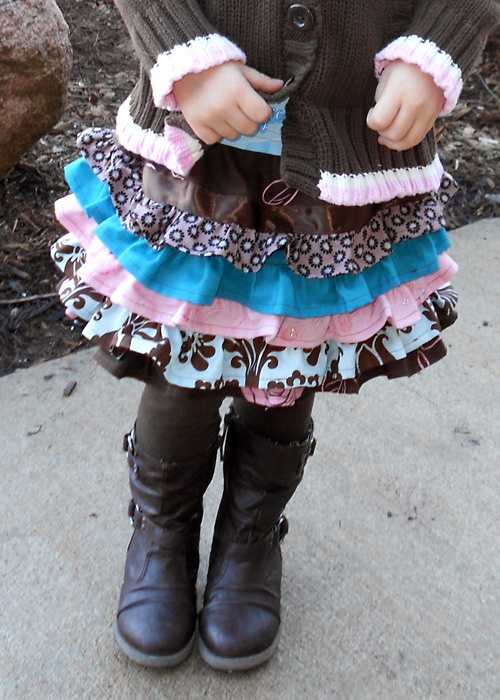 scrap fabric layered ruffle skirt and boots so cute!