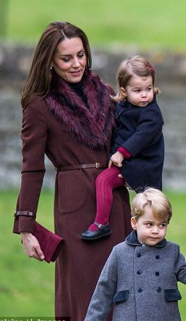 Prince George and Princess Charlotte and their parents Prince William and Duchess Catherine at church on Christmas day while visiting the Middleton family in Bucklebury, Berkshire, England, December 25, 2016