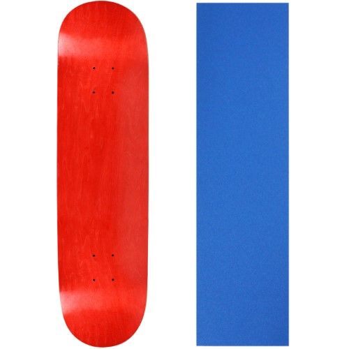 Blank Skateboard Deck - Stained RED - 8.5' Blue Grip
