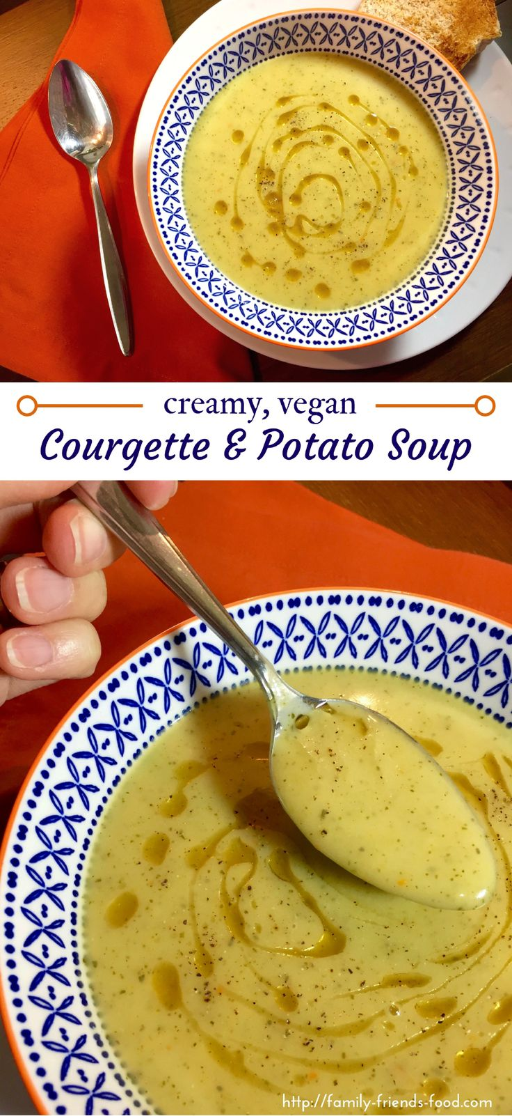 This wonderfully warming, fragrant courgette (zucchini) & potato soup is perfect for a cold day! Enjoy with hot toast for a lovely lunch or supper. #veganuary #vegan #healthyfood