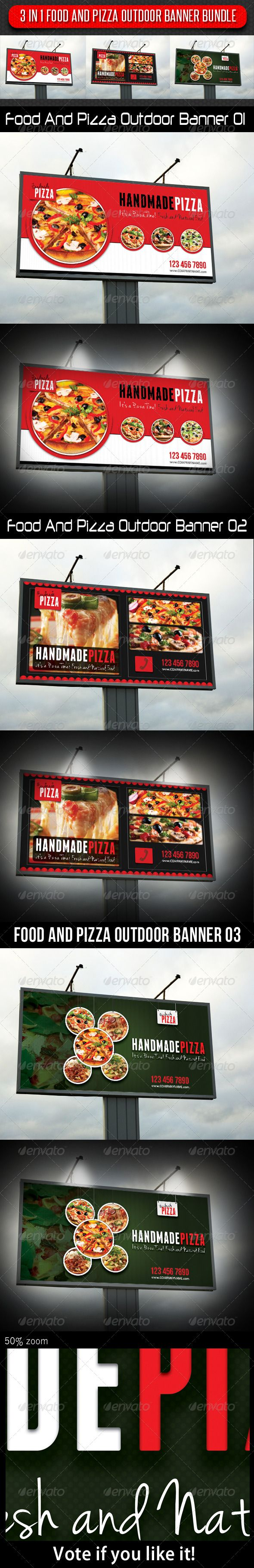 Banner banners banner poles outdoor display cheap custom - 3 In 1 Food And Pizza Outdoor Banner Bundle