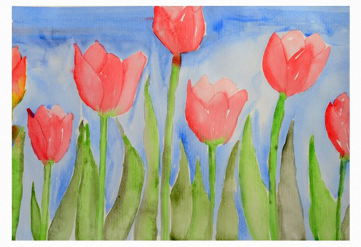 Red tulips on the field by Liudmila Mehedinteanu.