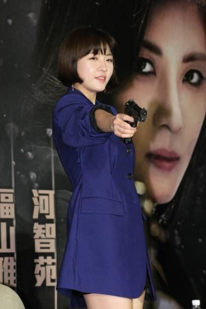 South Korean actress Ha Ji-won promotes film 'Manhunt' on November 23, 2017 in Taipei, Taiwan of China.