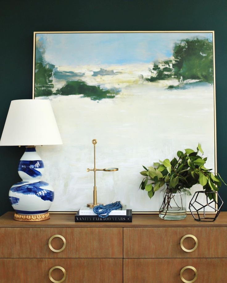 @bwhome brushstroke lamp + Hunter Green wall color by @benjamin_moore || www.studio-mcgee.com Instagram: @ studiomcgee