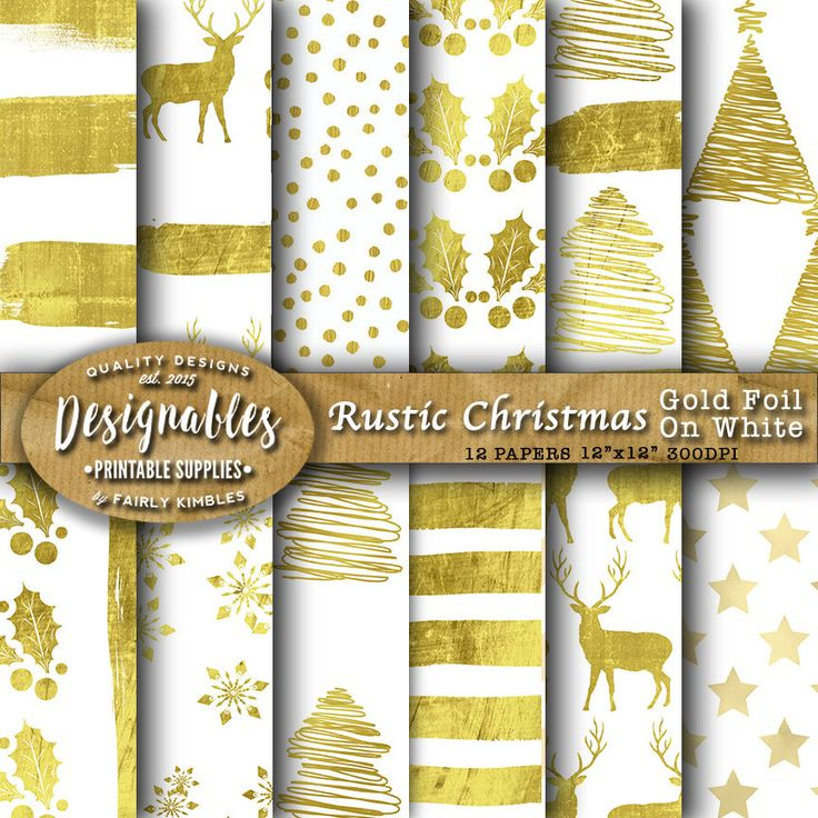 Gold Christmas Paper Digital Paper Rustic Christmas papers Christmas White Background 12x12, Instant Download by DesignableSupplies on Etsy