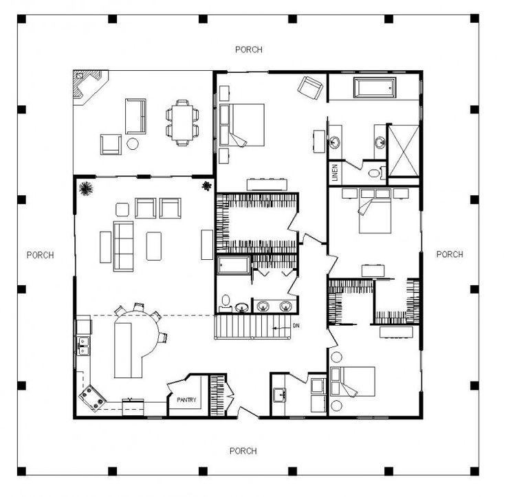 2689 best floor plans images on pinterest for Single level cabin floor plans