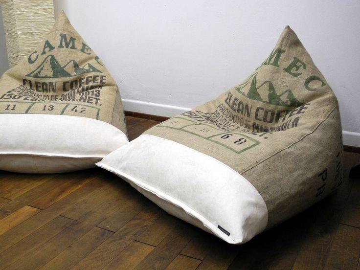 RESERVIERT:.XL-SITZSACK .KAFFEESACK.KAFFEESÄCKE von Donnalupinas Textilwerkstatt auf DaWanda.com