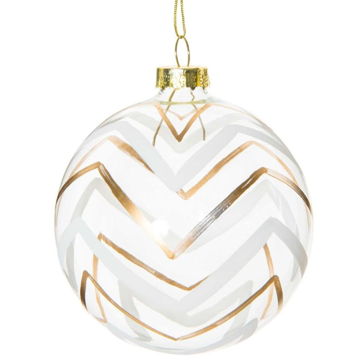 Bola navideña con motivo de espiguillas de cristal 8 cm GOLD