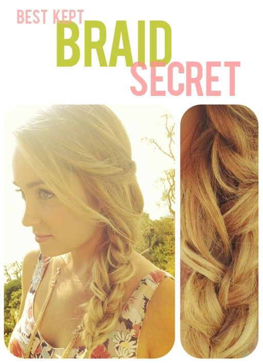 In a regular braid there are 3 strands. For this look, all you do is braid one of those strands beforehand and loosen it up with your fingers, then braid as usual. This creates extra texture   breaks up the mundane pattern of a regular braid.: Hairstyles, Hairdos, Hair Styles, Hair Do, Braids, Braid Secret