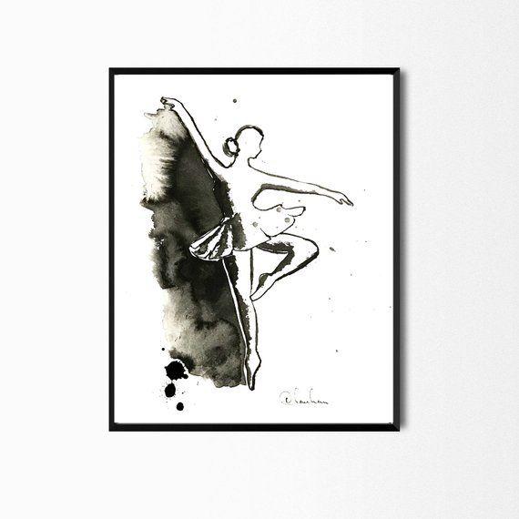 ballerina art watercolor ballerina wall art dancer gift girls room rh pinterest com