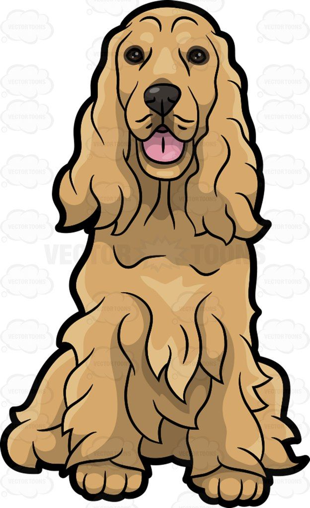 An adorable cocker spaniel : A dog with shaggy long golden brown fur black nose and eyes long ears sits on the floor with its mouth opened showing a pink tongue The post An adorable cocker spaniel appeared first on VectorToons.com.
