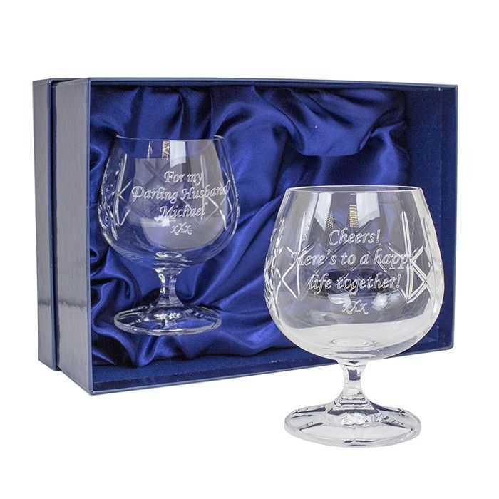 Engraved Crystal Pair of Brandy Glasses