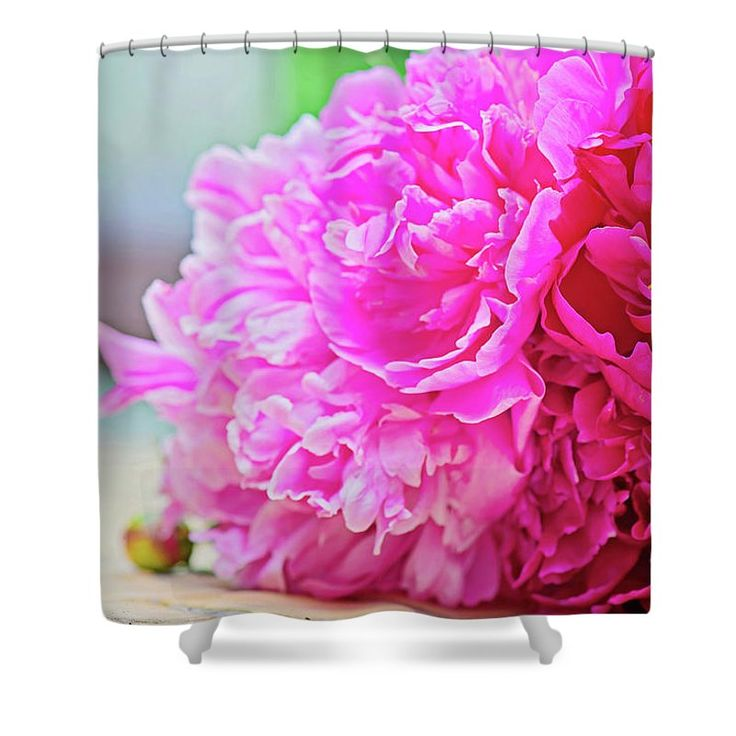 Anna Maloverjan Shower Curtain featuring the photograph Pink Peony Beauty by Anna Maloverjan  #peony #petals #flower #flowers #tender #delicate #tenderness #macro #blossom #pink #flora #soft #blossom #plant #bloom, #closeup #floral #flora #elegance #FramedPrints #CanvasPrints #MetalPrints #AcrylicPrints #Prints #HomeDecor #FineArtPhotography #FineArtPrint #PrintsForSale #Art #GiftIdeas